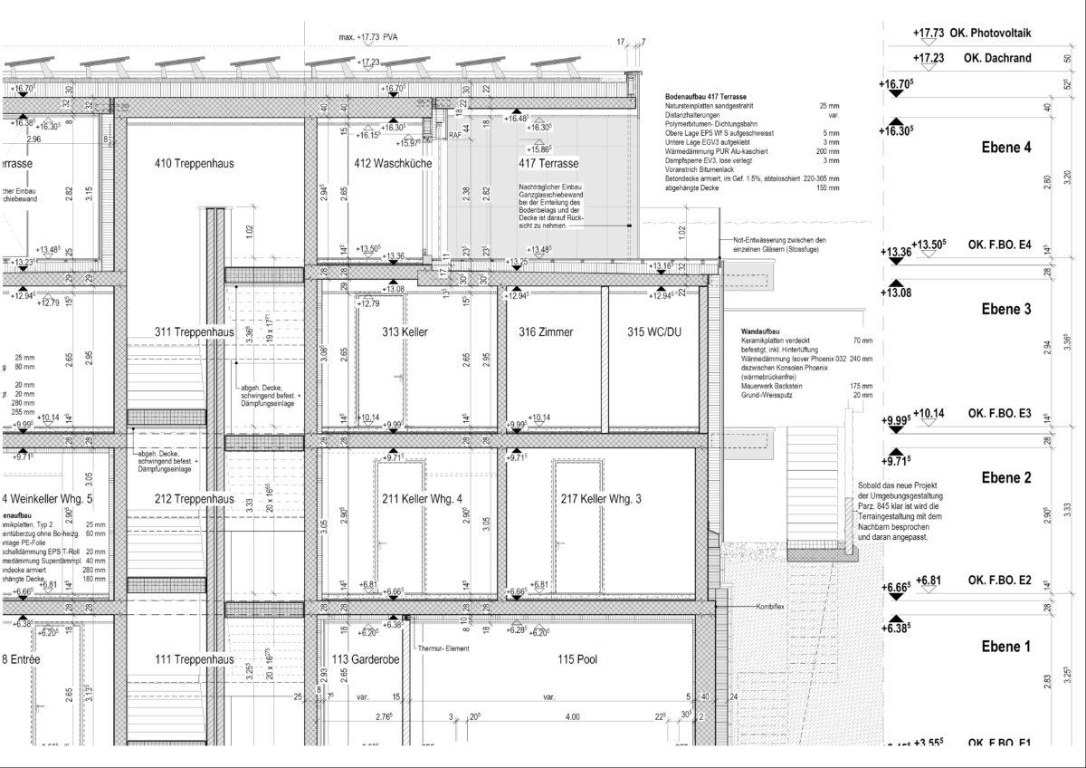 Ausf hrungsplanung l tscher architektur meggen - Architektur schnitt ...